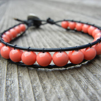 Beaded Leather Single Wrap Stackable Bracelet with Pink Coral Beads on Black Leather