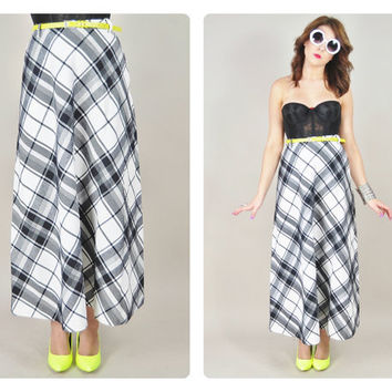 1970s black & white diagonal graphic PLAID print mod boho maxi skirt VINTAGE