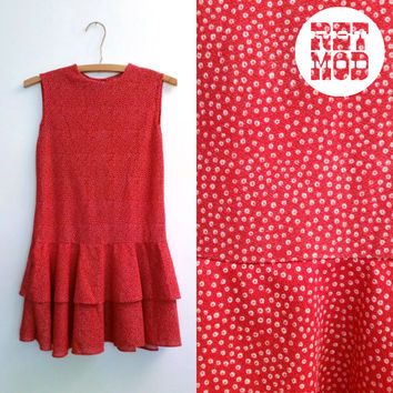 Mod and Simple Red Ruffle Drop Waist Shift Micro Mini Dress with White Dot Pattern!