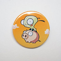 "Invader Zim - Gir riding a pig 1x1.5"" pinback button badge from Stickerama"