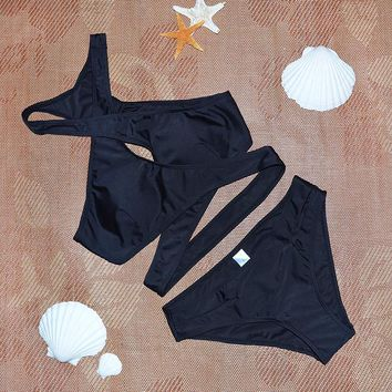 Black Cross High neck bikini set Women's Swimwear Swimsuits