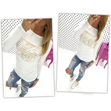 Fashion Women Tassel Hollow Out  Long Sleeve T Shirt Tops Women Casual T-Shirts plus size LJ1238M