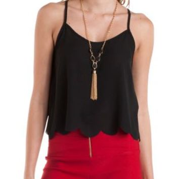 Scalloped Flyaway Swing Tank Top by Charlotte Russe
