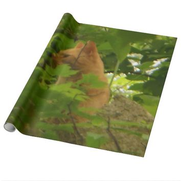 Orange Cat Bushes Wrapping Paper