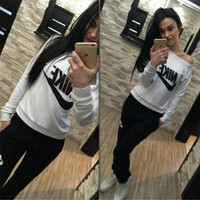 """""""NIKE"""" Fashion Casual Letter Print Round Neck Long Sleeve Set Two-Piece Sportswear"""