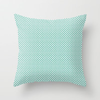 Blue Polka Dots Throw Pillow by Uma Gokhale