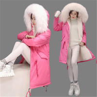 Winter Brand White Duck Down Coat Women's Warm Jacket Loose Long Parka Big Fur Collar Hooded Fur Lining Overcoat Plus Size AA264