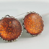 Orange Glitter Long Earrings, Glitter Glass Dome Earrings, Glitter Earrings, Party Earrings, Holographic Jewelry, Orange Dangle Earrings