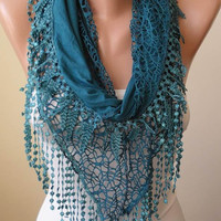 Turquoise Scarf with Lace Trim Edge Edge - Cotton and Lace Fabric