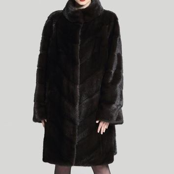 Fashion Stylish Design Medium Length Real Mink Fur Coat For Women Natural Fur Coats Russian Style Plus Size