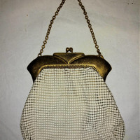 On Sale Whiting and Davis Mesh Purse White with Gold Toned Frame