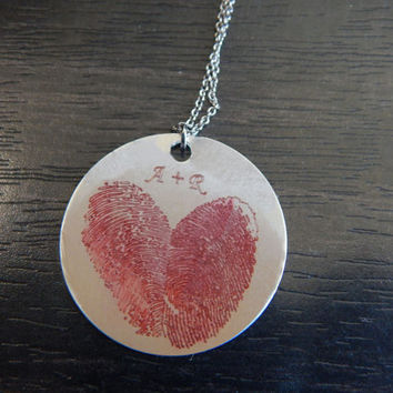 Red Personalized Custom Engraved Fingerprint Heart Pendant Necklace, Great Birthday Gift, Chirstmas Gift, Memorial Pendant