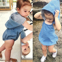 Hotsale summer baby girls boys cool denim blue romper toddler fashion jumpsuit sunsuits with hats