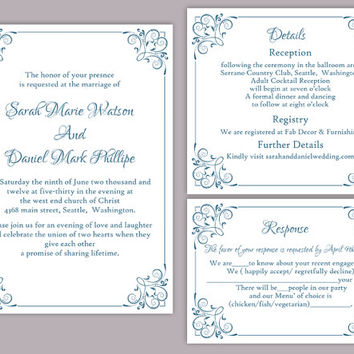 DIY Wedding Invitation Template Set Editable Word File Instant Download Printable Floral Invitation Blue Invitation Elegant Invitations