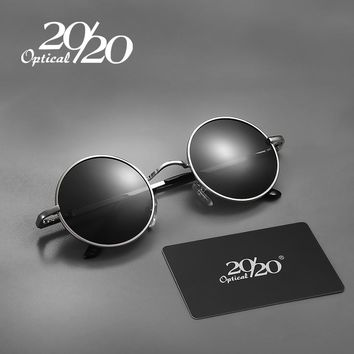 20/20 New Polarized Sunglasses For Men Women Small Round Alloy Frame Summer Style Unisex Sun Glasses Eyewear UV400