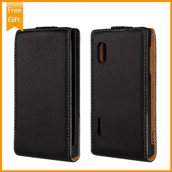 100% Genuine Leather For LG Optimus L5 E610 E612 E615 Pouch Wallet Cover,For LG Optimus L5 Flip Phone Case Free Shipping+Gift