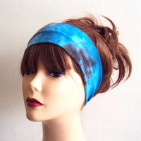Tie Dye Headband Hand Painted Yoga Bandana Gym Workout Running Fitness Beach Women Hair Accessories