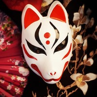 Hand Painted Full Face Japanese Fox PVC Kitsune Red Black Pattern Cosplay Decorative Mask Collection Party Halloween