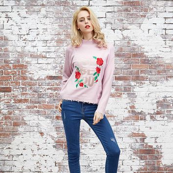 Women's Fashion Winter Slim Pullover Long Sleeve Floral Embroidery Sweater [73418932250]