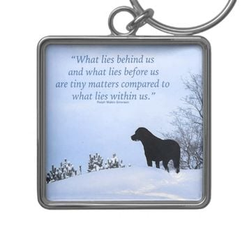 Black Labrador Quote - What lies within Us 2 Silver-Colored Square Keychain