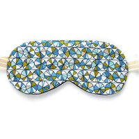 100% Organic Cotton Sleep Mask for Women, Girls Eye Shade, Kids Children, Blindfold, Blue Vintage, Night Face Sleepmask Eyemask Adjustable