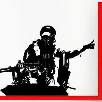 Wall Stickers Vinyl Decal Machine Gun Tank Military Army Decor  Unique Gift (z2281)