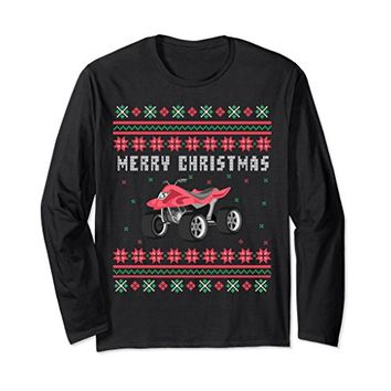 ATV 4 Wheeler Ugly Christmas Long Sleeve T-shirt
