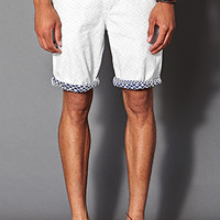 Reverse Tribal Print Shorts White/Navy 34