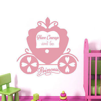 Cinderella Wall Decal Princess Quotes Sticker Girl Nursery Kids Room Decor DS398