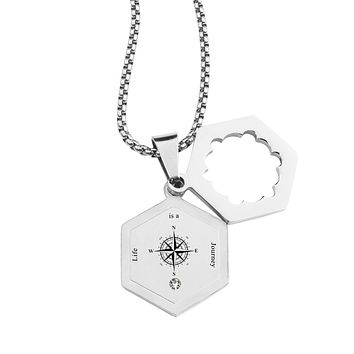 Life Compass Double Hexagram Necklace with Cubic Zirconia by Pink Box - LIFE IS A JOURNEY