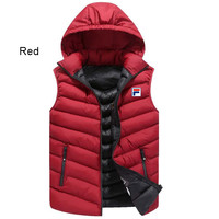 FILA autumn and winter fashion men's casual hooded vest red
