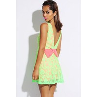 neon green lace pink bow tie backless A line retro skater cocktail dress