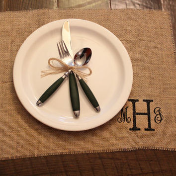 Monogrammed Burlap Placemat Set of 6 by SunbirdWay on Etsy