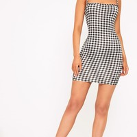 Minnie Black Gingham Bodycon Dress