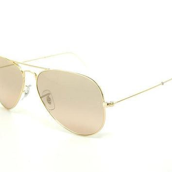 LMF8UH Ray Ban Aviator RB3025 001/3E Arista/Crystal Brown-Pink Silver Mirror 62mm Sunglasses