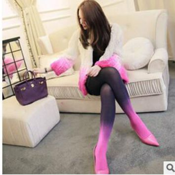 New Arrival 2017 Candy Color Stockings Velet Sexy Elastic Flesh Impervious Sheer Pantyhose Tight Gradient Pantyhose Stockings