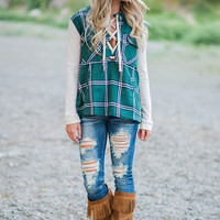 Riding Through Fields Lace Up Plaid Hoodie (Green)