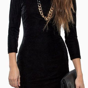 Black Retro Style Backless Dress