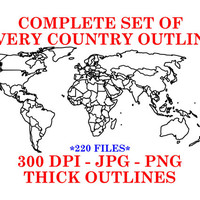 Clip art set of countries in the world Thick outlines, 220 world country patterns. embroidery pattern, Vinyl cutter pattern Instant download