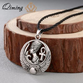 QIMING New Boho Necklaces For Women Egyptian Queen Egypt Nefertiti Pharaoh Ankh Scarab Pendant Silver Vintage Charm Necklace