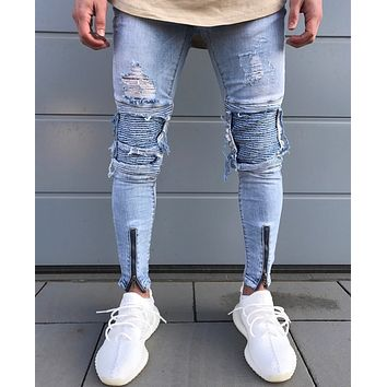Men Slim Ripped Holes Ruffle Fashion Pants [10869556355]