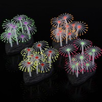 1pc Silicone Emulational Luminous Glowing Effect Sea Anemone Aquarium Artificial Fake Coral Plant Fish Tank Decoration