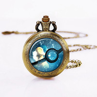 Pokeball  Pocket Watch ,Art Glass Necklace,Pokemon Ball charm Pendant,Vintage handmade Necklace,Mother's Day watch necklace