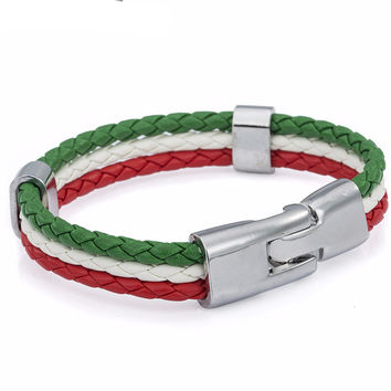 Italy Flag Rope Surf Leather Bracelet Wristband Fashion Mens Womens Friendship Jewelry