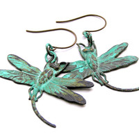 Metal Dragonfly Earrings, Verdigris Jewelry, Green Earrings, Dragonfly Earrings, Antiqued Metal Jewelry, Dragonfly Jewelry