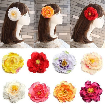 Artificial Silk Peony Flower Wedding Party Beach decoration Hair Clip