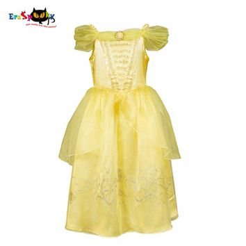 Girls Party Dress Belle Kids Wedding Formal Deluxe Princess Tutu Dress Gown Beauty and The Beast Costume
