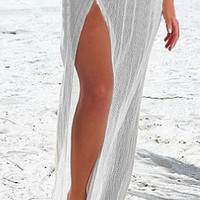 White Convertible High Slit Crochet Beach Cover Up