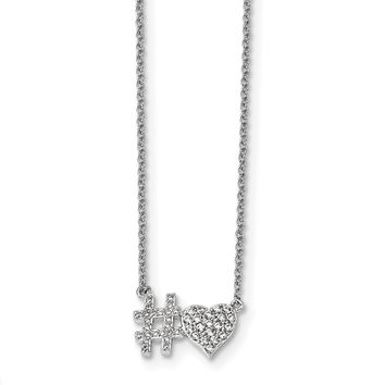 Sterling Silver Rhodium-plated CZ 18in Hashtag Heart Necklace QG4353
