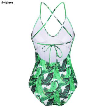 Women New Swimsuit Sexy One-Piece Bikini Floral Print Swimwear Lace-up Stylish